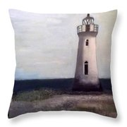 Man And Lighthouse Throw Pillow