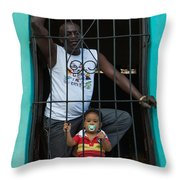 Man And Son In The Window Throw Pillow