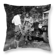 Man And Woman In Fishing Gear Throw Pillow