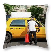 Man Asks For Information A Taxi Driver In Manhattan. Throw Pillow