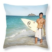 Man At The Beach With Surfboard Throw Pillow by Brandon Tabiolo - Printscapes