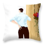 Man At The End Of The Corridor Throw Pillow