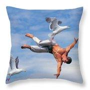 Man Being Carried By Bird Throw Pillow