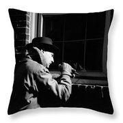 Man Breaking Into Building, C.1950s Throw Pillow