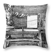 Man Drawing A Lute 1523 Throw Pillow