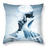 Man Face With Mechanical Cogwheel Overlay. Throw Pillow