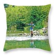 Man Fly Fishing In Canyon Creek Near Winters-california Throw Pillow