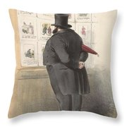 Man For A Showcase With Prints, Anonymous, 1810 - C. 1900 Throw Pillow