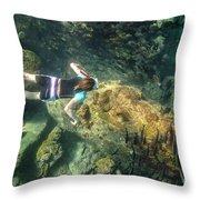 Man Free Diving Throw Pillow