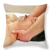 Man Getting Neck Massage Throw Pillow