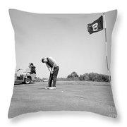 Man Golfing, C.1960s Throw Pillow