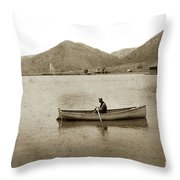 Man In A Row Boat Named Lizzie On Palmer Lake On The Colorado Di Throw Pillow