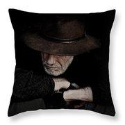 Man In Akubra Hat Throw Pillow