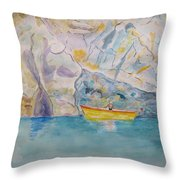 Man In Boat, Lerici Throw Pillow