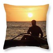 Man In Canoe Throw Pillow