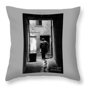 Man In Paris Alley Throw Pillow
