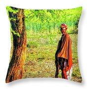 Man In Shade Throw Pillow