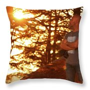 Man In The Forest Throw Pillow