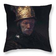 Man In The Golden Helmet Throw Pillow
