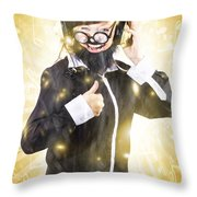 Man Listening To Fm Radio Broadcast With Headphone Throw Pillow