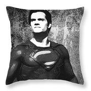 Man Of Steel Monochrome Throw Pillow