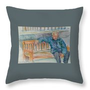 Man On Bench Throw Pillow