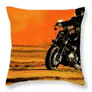 Man On Bike Throw Pillow