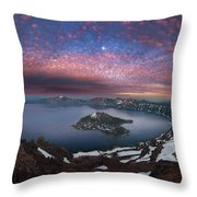 Man On Hilltop Viewing Crater Lake With Full Moon Throw Pillow
