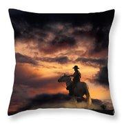Man On Horseback Throw Pillow
