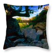 Man On The Bridge Throw Pillow