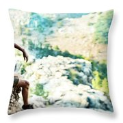 Man On Top Of The World Throw Pillow