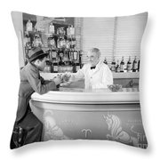 Man Ordering Another Drink, C. 1940s Throw Pillow