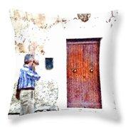Man Photographing Throw Pillow