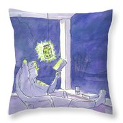 Man Reads By The Light Of Fireflies. Throw Pillow
