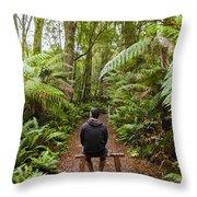 Man Relaxing In Strahan Rainforest Retreat Throw Pillow