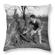 Man Retrieving Golf Ball From Tree Throw Pillow