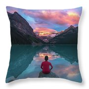 Man Sit On Rock Watching Lake Louise Morning Clouds With Reflect Throw Pillow