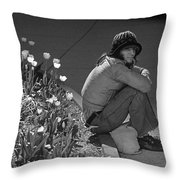 Man Sitting Along Curb  Throw Pillow