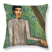 Man Sitting Under Willow Tree Throw Pillow