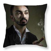 Man Smoking A Cigar Throw Pillow
