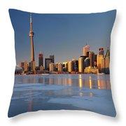 Man Standing On Frozen Lake Ontario Ice Looking At Toronto City  Throw Pillow