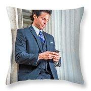Man Texting Outside Throw Pillow