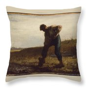 Man Turning Over The Soil Throw Pillow