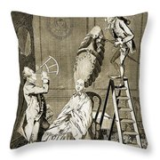 Man Using Sextant On Womans Coiffure Throw Pillow