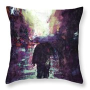 Man Walking Under Umbrella Throw Pillow