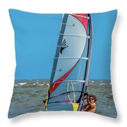 Man Wind Surfing Throw Pillow