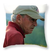 Man With American Flag On Cap Throw Pillow