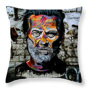 Man With Colourful Face Throw Pillow