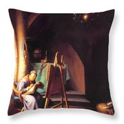 Man With Easel Throw Pillow