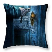 Man With Keys At Door Throw Pillow